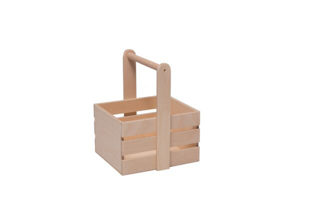 Wooden basket with round handle in natural color. (22x19x15cm)